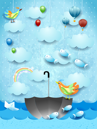 Surreal seascape with umbrella, birds, balloons and flying fishes. Vector illustration eps10