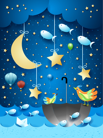 Surreal seascape with moon, umbrella, birds, balloons and flying fishes. Vector illustration eps10