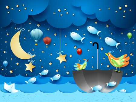 Surreal seascape with moon, umbrella, balloons and flying fishes. Vector illustration eps10