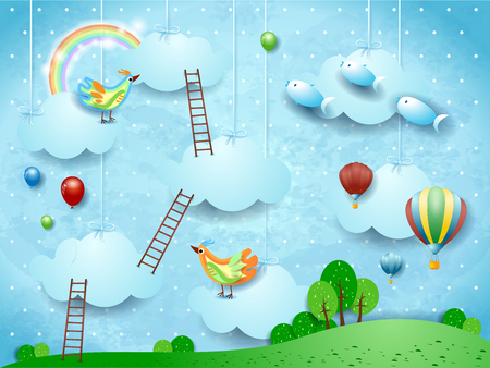 Surreal landscape with stairways, birds, balloons and flying fishes. Vector illustration eps10