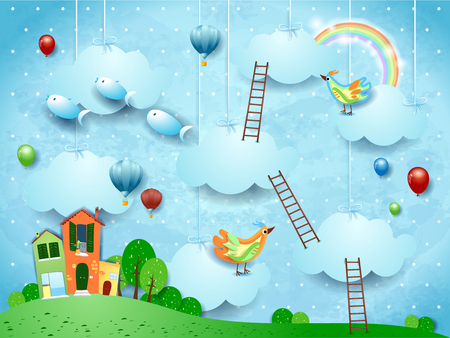 Surreal landscape with village, stairways, balloons, birds and flying fishes. Vector illustraton eps10 Ilustração