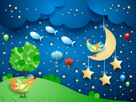 Surreal night with hanging moon, birds, balloons and flying fishes. Vector illustration eps10