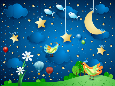Surreal night with flower, birds, balloons and flying fishes. Vector illustration eps10