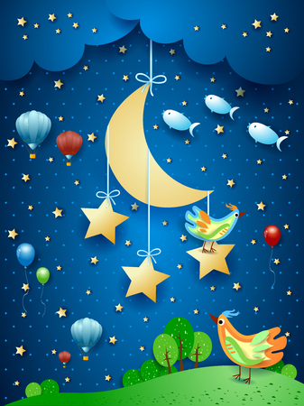 Surreal night with moon, birds, balloons and flying fishes. Vector illustration eps10
