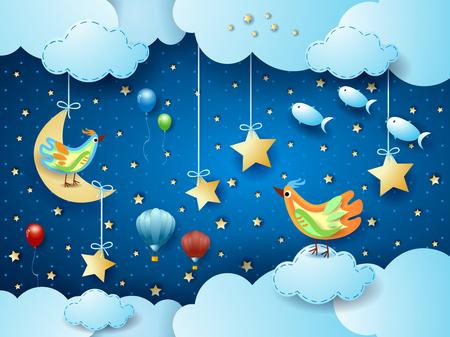 Noche surrealista con luna, pájaros, globos y peces voladores. Ilustración vectorial