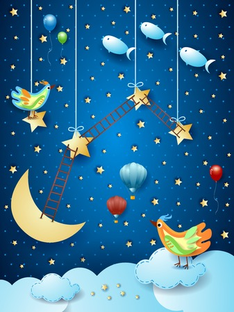 Surreal night with ladders, birds, balloons and flying fishes. Vector illustration eps10 Ilustração