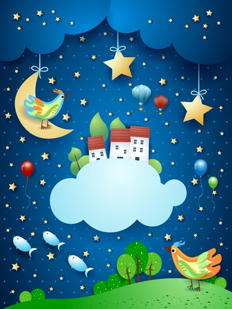 Surreal night with little town over the clouds and flying fishes. Vector illustration eps10