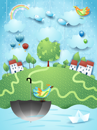 Fantasy landscape with umbrella, birds and flying fishes. Vector illustration eps10 Ilustração