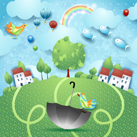 Fantasy landscape with umbrella, birds and flying fishes. Vector illustration eps10 Ilustração