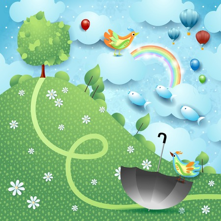 Fantasy landscape with hill, tree, umbrella and flying fishes. Vector illustration