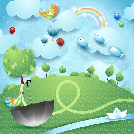 Fantasy landscape with river, tree, umbrella and flying fishes. Vector illustration eps10