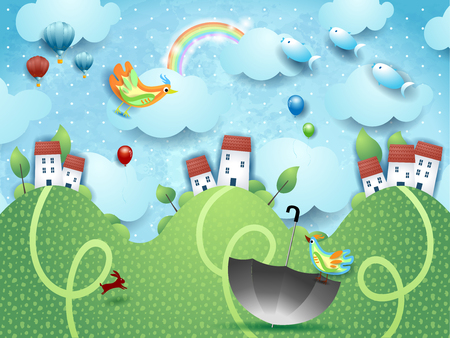 Fantasy landscape with hills, umbrella and flying fishes. Vector illustration eps10 Ilustração