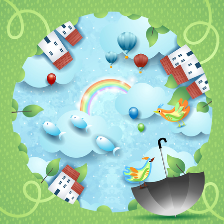 Fantasy landscape with hole, umbrella and flying fishes. Vector illustration eps10 Ilustração