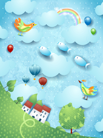 Fantasy landscape with tree, birds, balloons and flying fishes. Vector illustration eps10