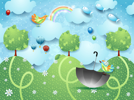 Fantasy landscape with hills, birds, balloons and flying fishes. Vector illustration eps10 Ilustração