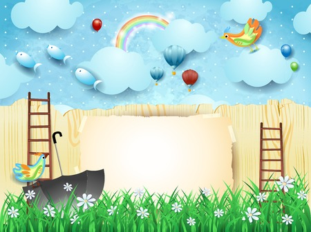 Fantasy landscape with fence, umbrella, ladders and flying fishes. Vector illustration eps10 Ilustração