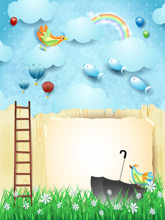 Fantasy landscape with fence, ladder, umbrella and flying fishes. Vector illustration eps10