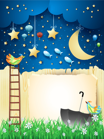 Surreal night with fence, stairway, umbrella and flying fishes. Vector illustration eps10 스톡 콘텐츠 - 122899532