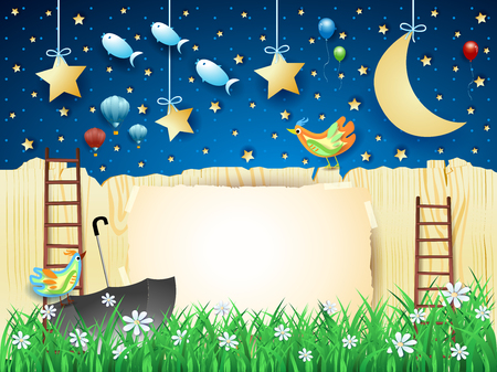 Surreal night with fence, stairway, umbrella and flying fishes. Vector illustration eps10