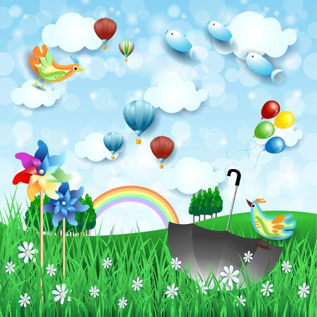 Paisaje de primavera surrealista con molinetes, paraguas y peces voladores. Ilustración vectorial eps10 Ilustración de vector
