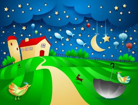 Surreale Nacht mit Bauernhof, Regenschirm und fliegenden Fischen. Vektorillustration eps10