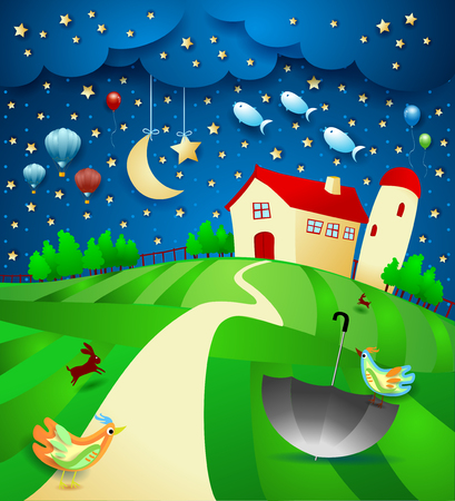 Surreal night with farm, umbrella and flying fishes. Vector illustration Ilustração