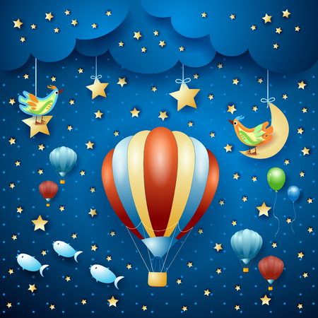 Surreal night with hot air balloons and flying fishes. Vector illustration