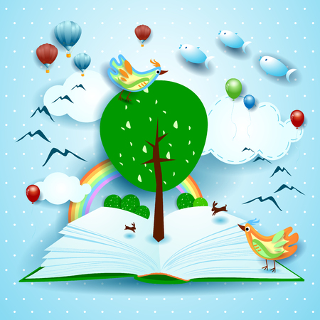 Growing, open book with surreal landscape. Vector illustration eps10