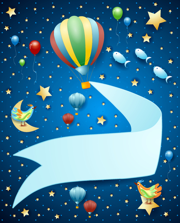 Surreal landscape by night with balloon, banner and flying fishes. Vector illustration eps10