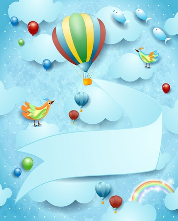 Surreal landscape with hot air balloon, banner and flying fishes. Vector illustration eps10