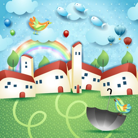 Surreal landscape with little town, umbrella and flying fishes. vector illustration eps10