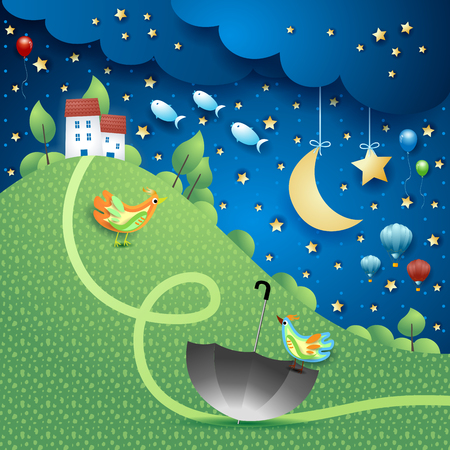 Surreal landscape by night with hill, umbrella and flying fishes. Vector illustration eps10