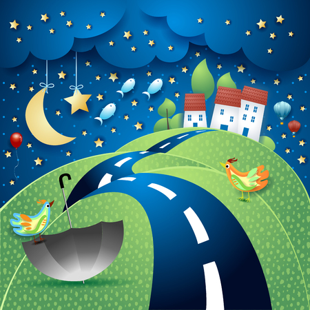 Fantasy landscape with hill, road, village, umbrella and flying fishes. Vector illustration eps10