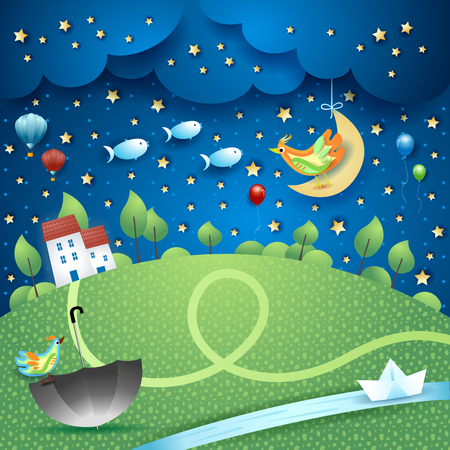 Surreal landscape by night with river, umbella and flying fishes. Vector illustration eps10 Illustration