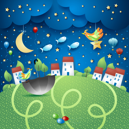 Fantasy landscape by night with villages, umbrella and flying fishes. Vector illustration eps10