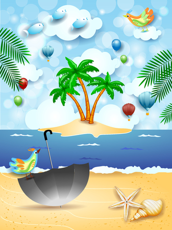 Surreal seascape with island, umbrella and flying fishes. Vector illustration Ilustração
