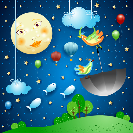 Surreal night with full moon and flying umbrella and fishes. Vector illustration eps10 向量圖像