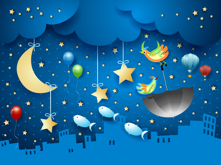 Surreal night with urban skyline and flying umbrella and fishes. Vector illustration