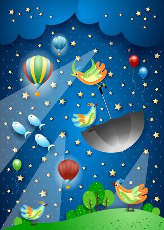 Surreal night with spotlights, flying umbrella and fishes. Vector illustration eps10