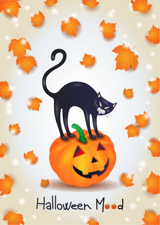 Halloween background with black cat, pumpkin and leaves  イラスト・ベクター素材