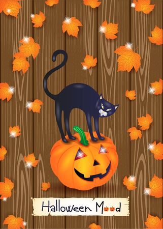 Halloween background with black cat, pumpkin and leaves on wood.