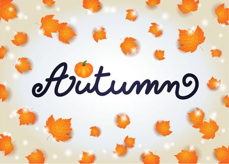 Autumn background with text and leaves.