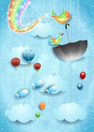 Surreal sky with birds, umbrella, music and rainbow colors. Ilustração