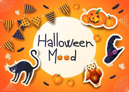 Halloween background with text, stickers and festoon on orange.