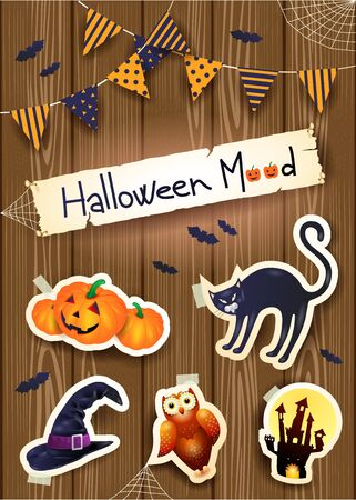 Halloween background with stickers, text and festoon on wood.
