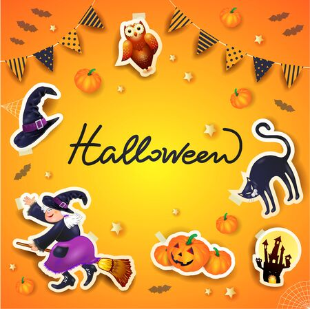 Halloween background with frame of stickers, festoon and text. Vector illustration eps10  イラスト・ベクター素材
