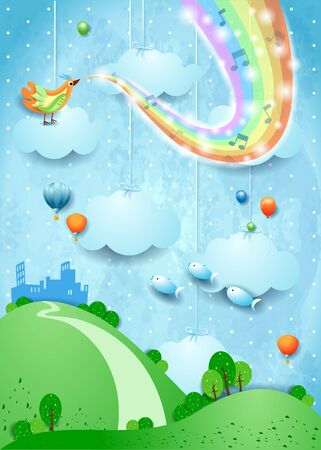 Fantasy landscape with rainbow colors, musical notes, bird and city. Vector illustration eps10
