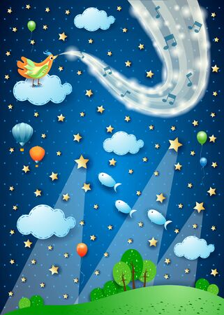 Fantastic night with bird, wave of sparkles and spotlights. Vector illustration eps10