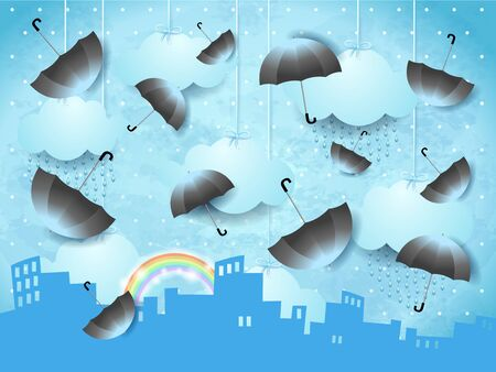 Surreal landscape with urban skyline and flying umbrellas. Vector illustration eps10  イラスト・ベクター素材
