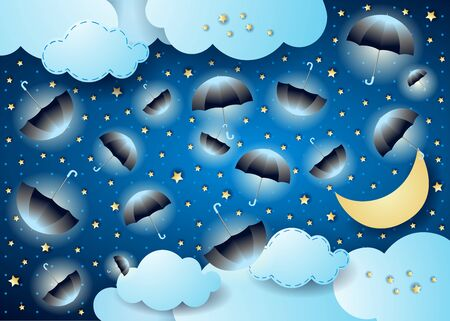 Surreal cloudscape by night with flying umbrellas. Vector illustration eps10 Çizim